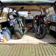 An old 1970 Range Rover easily takes two minibikes.